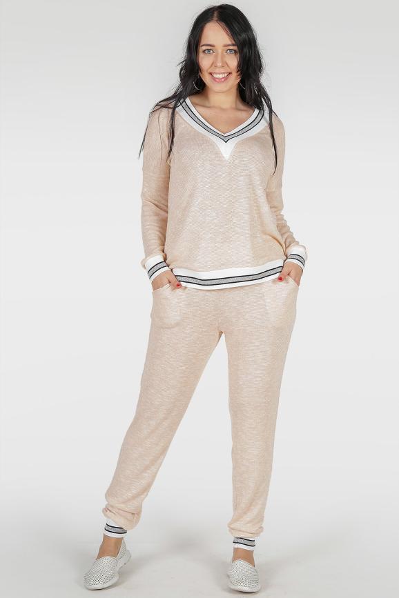 Женский костюм большего размера розовый цвета 383-1|интернет-магазин vvlen.com