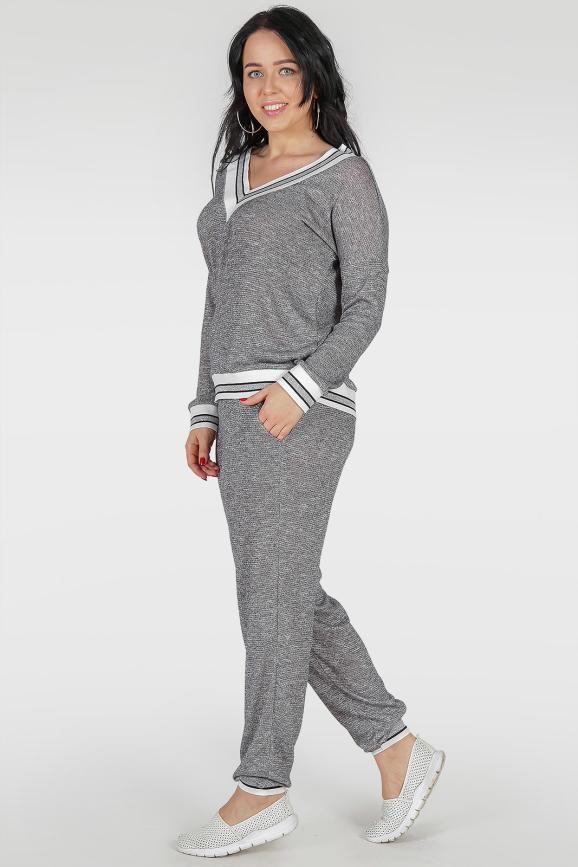 Женский костюм большего размера серый цвета 383-1|интернет-магазин vvlen.com