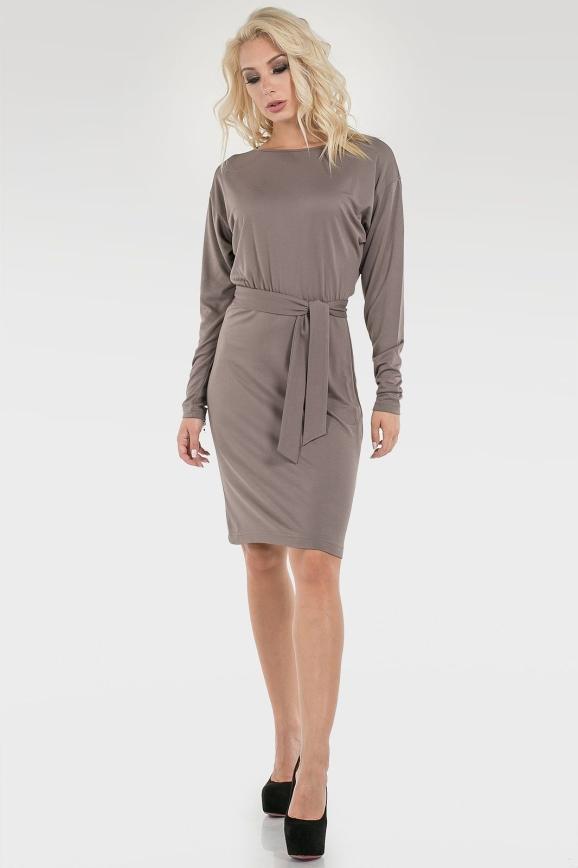 Офисное платье футляр серого цвета 2098.56|интернет-магазин vvlen.com
