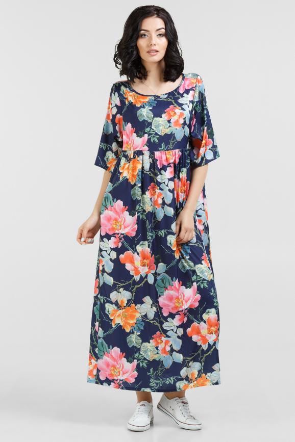 Летнее платье балахон синего с розовым цвета 2678-2.100|интернет-магазин vvlen.com
