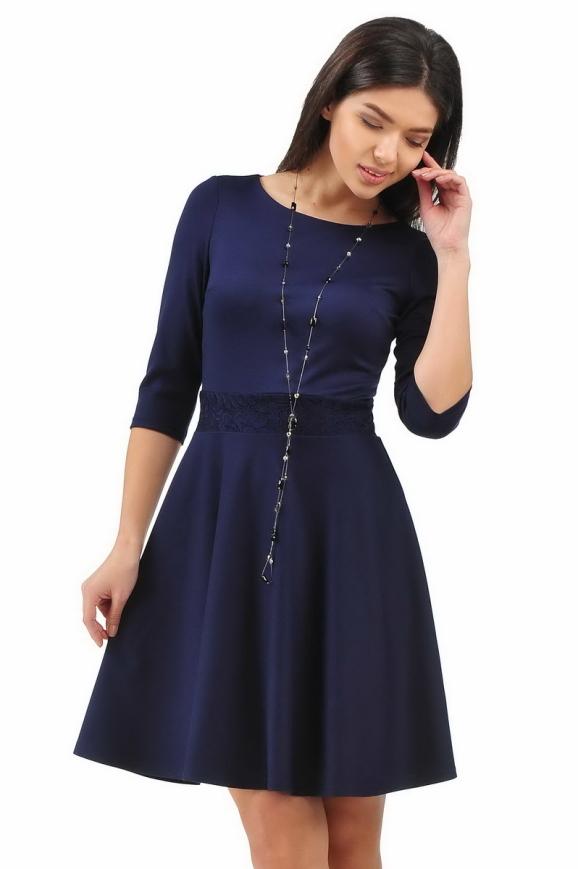 Повседневное платье с расклешённой юбкой синего в горох цвета 2281.41 интернет-магазин vvlen.com
