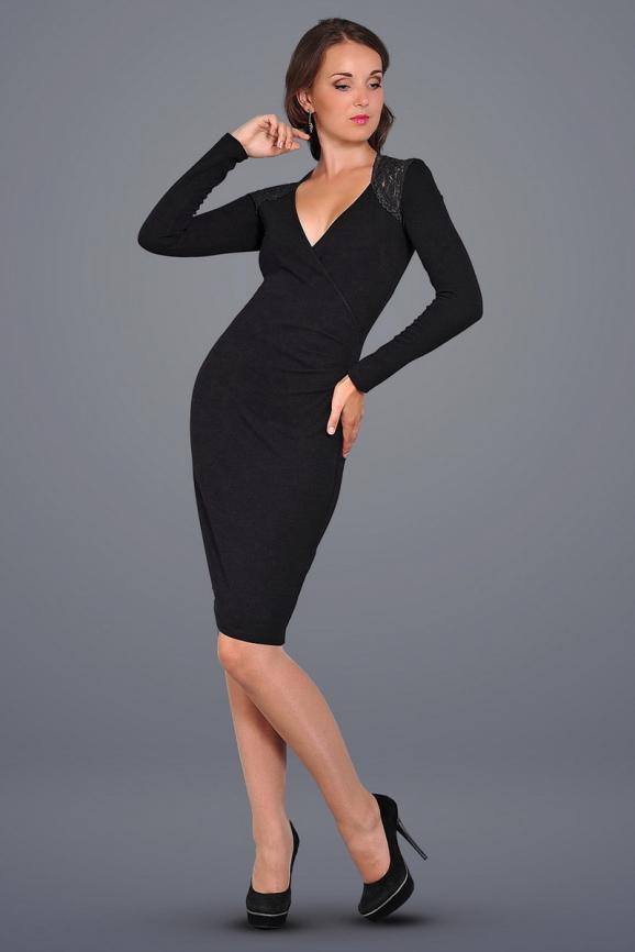 Коктейльное платье футляр черного цвета 406.47|интернет-магазин vvlen.com
