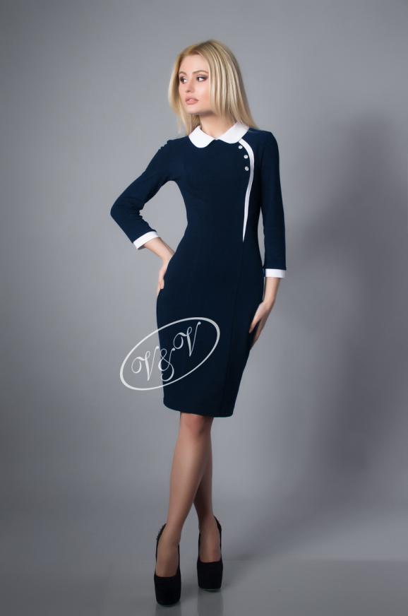 Офисное платье футляр синего в горох цвета 1829.1|интернет-магазин vvlen.com
