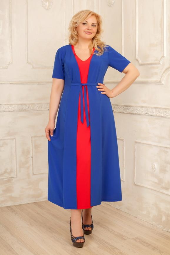 Летнее платье с расклешённой юбкой синего с красным цвета 2291.83|интернет-магазин vvlen.com