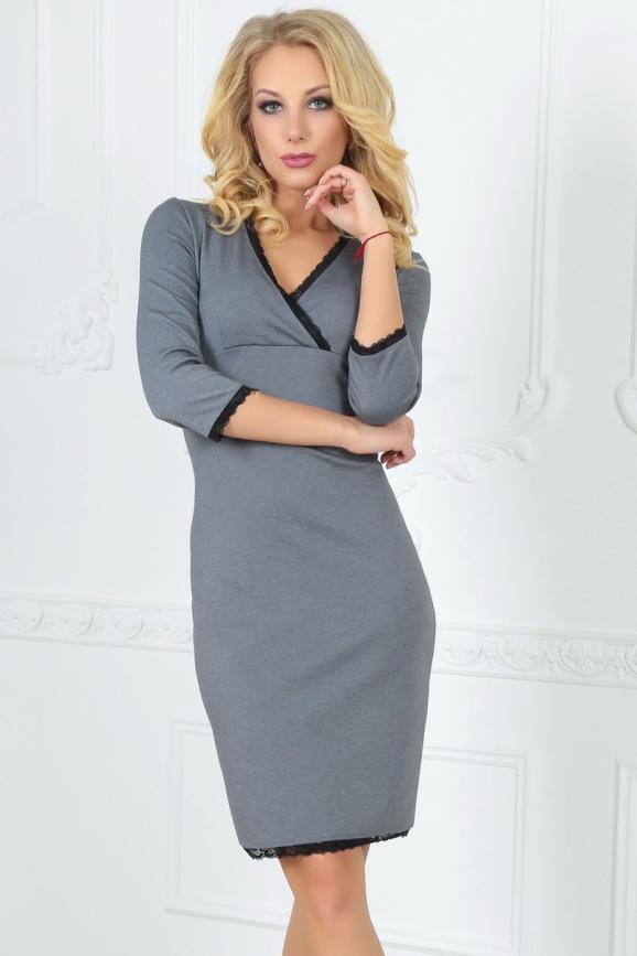 Повседневное платье футляр серого цвета 2502.47|интернет-магазин vvlen.com