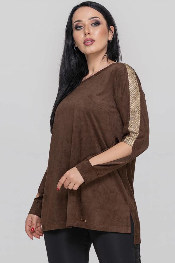 Туника асимметричная коричневого цвета 2879.86|интернет-магазин vvlen.com
