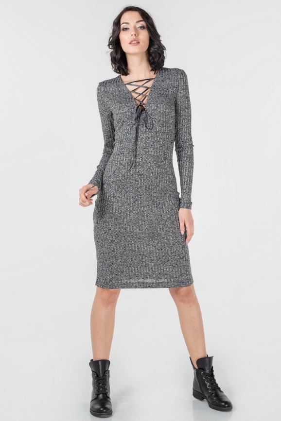 Повседневное платье футляр темно-серого цвета 2654.31 интернет-магазин vvlen.com