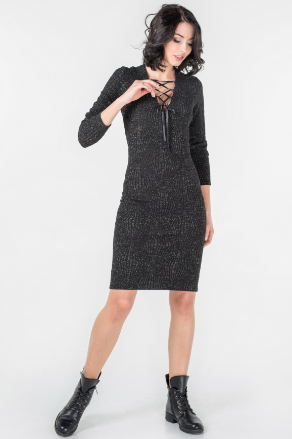 Повседневное платье футляр черного цвета|интернет-магазин vvlen.com