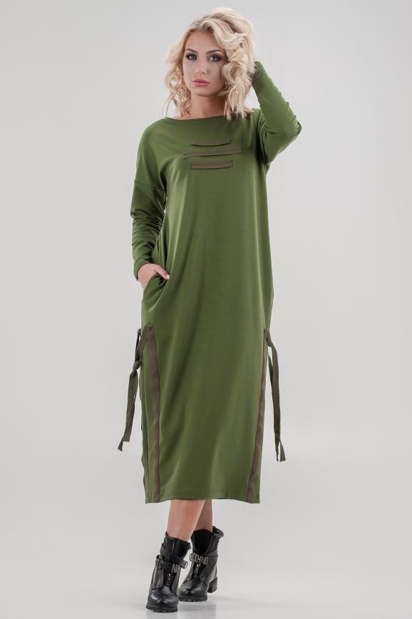 Спортивное платье  хаки цвета 2640.79|интернет-магазин vvlen.com
