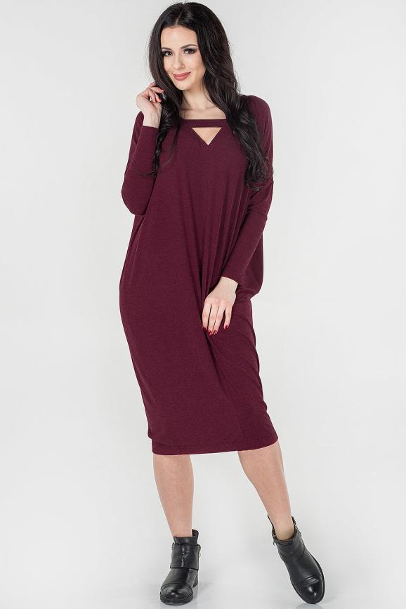 Платье оверсайз бордового цвета 2665.17|интернет-магазин vvlen.com