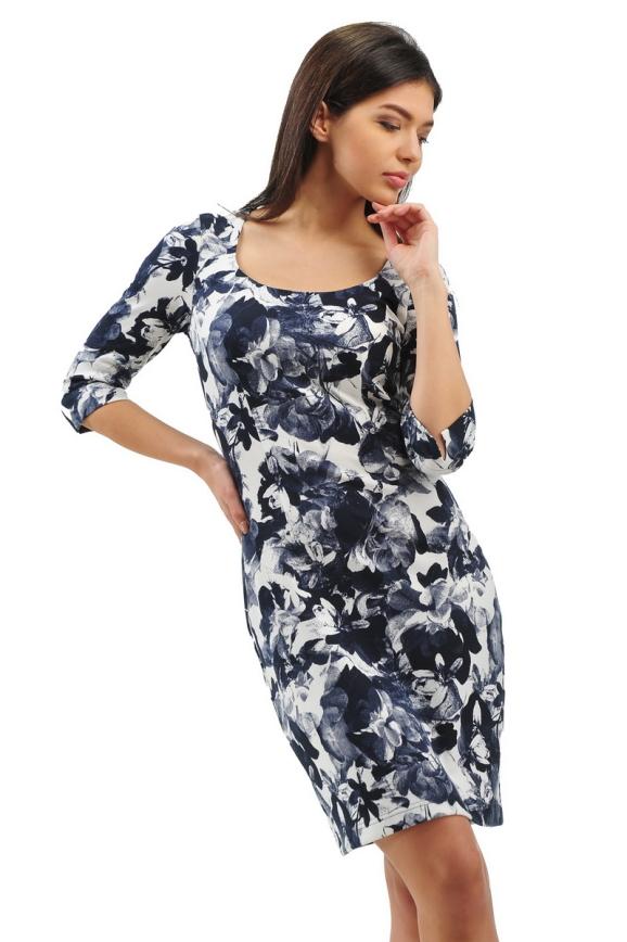 Офисное платье футляр синего с белым цвета 2283.41|интернет-магазин vvlen.com