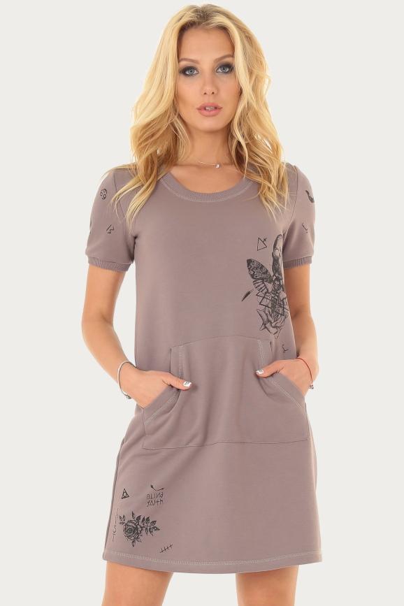 Спортивное платье  бежевого цвета|интернет-магазин vvlen.com