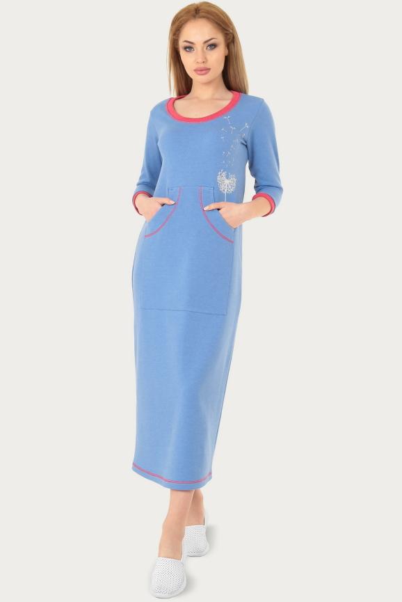Спортивное платье  голубого цвета 211br интернет-магазин vvlen.com