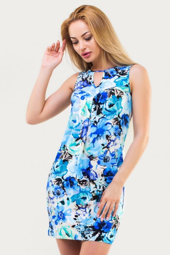 Летнее платье футляр голубого тона цвета|интернет-магазин vvlen.com