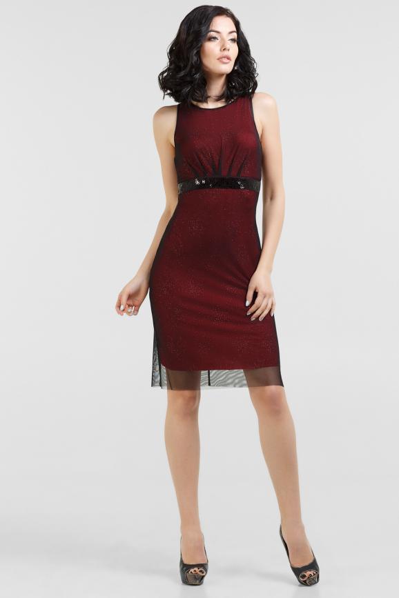 Коктейльное платье футляр черного с красным цвета 759.10|интернет-магазин vvlen.com