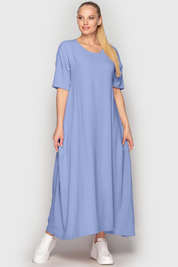 Платье оверсайз голубого цвета 2858-2.116 интернет-магазин vvlen.com