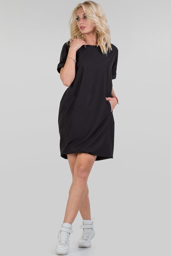 Повседневное платье рубашка черного цвета 074|интернет-магазин vvlen.com