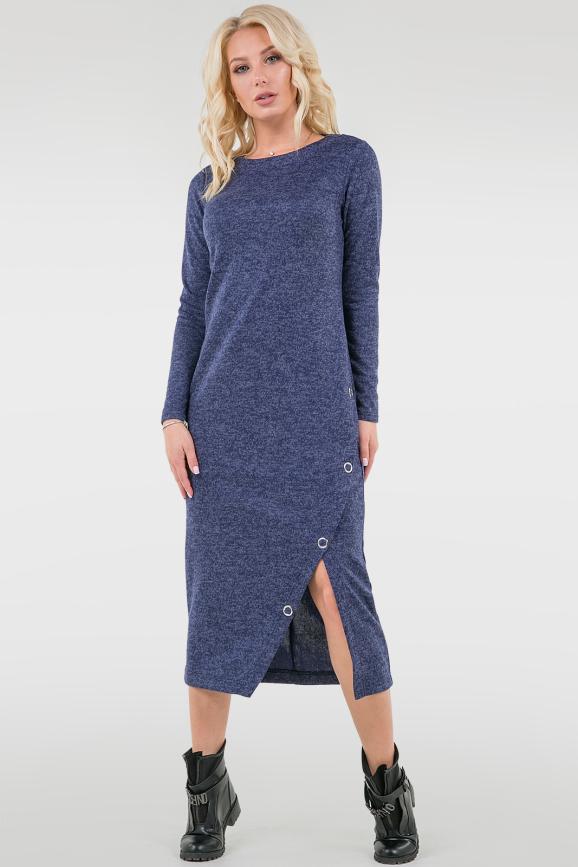 Повседневное спортивное платье синего цвета 2741.96|интернет-магазин vvlen.com