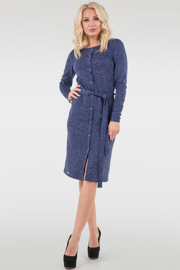 Повседневное платье футляр синего цвета 2738.96|интернет-магазин vvlen.com