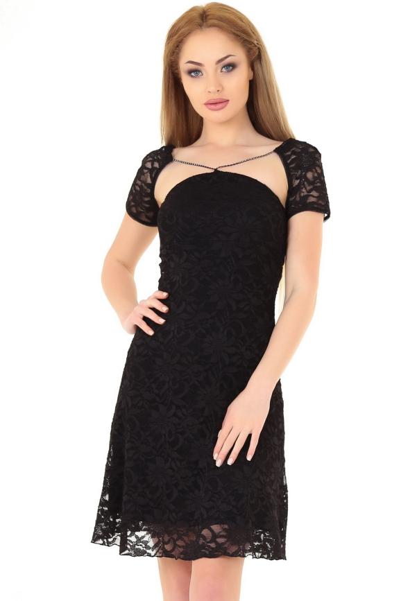 Коктейльное платье с открытой спиной черного цвета 887.12|интернет-магазин vvlen.com