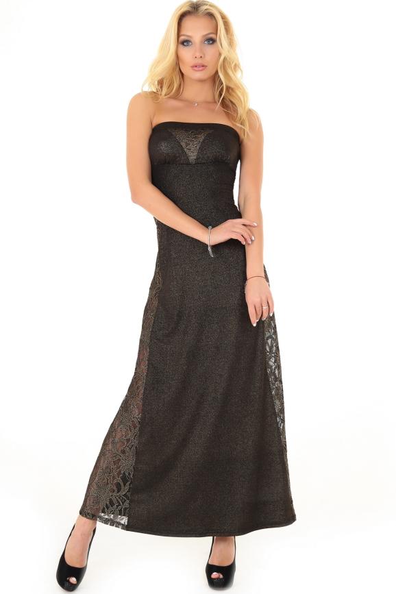 Вечернее платье с открытыми плечами золотистого цвета 894.6|интернет-магазин vvlen.com