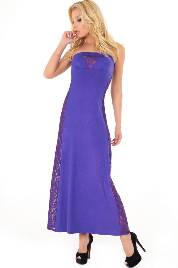 Вечернее платье с открытыми плечами фиолетового цвета 894.6|интернет-магазин vvlen.com