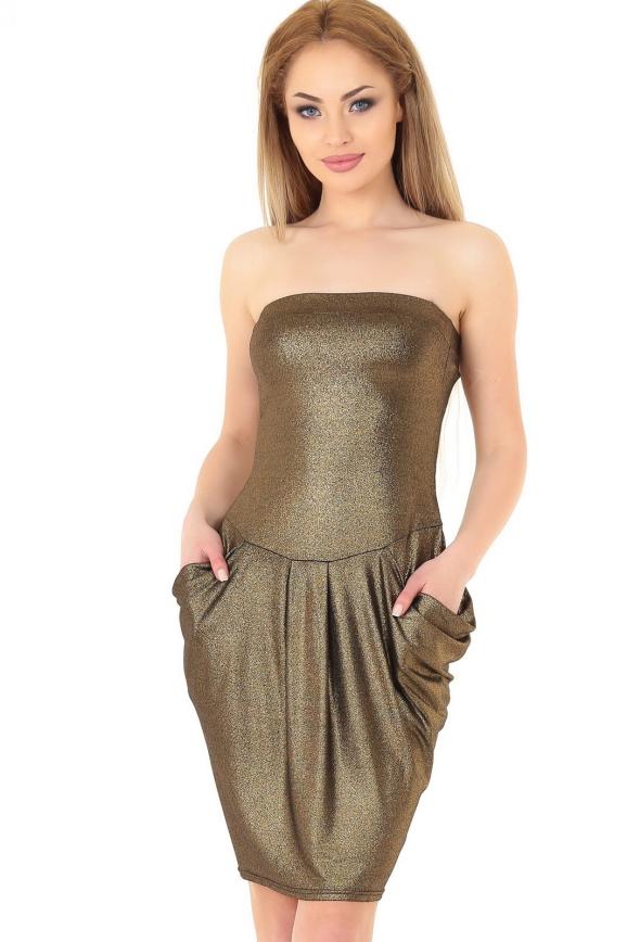 Коктейльное платье с открытыми плечами золотистого цвета 895.6|интернет-магазин vvlen.com