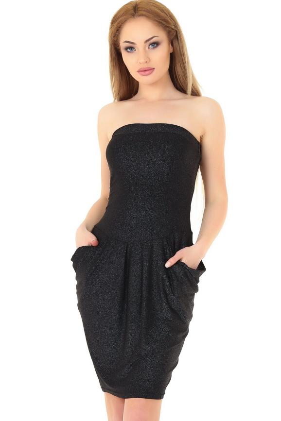 Коктейльное платье с открытыми плечами черного цвета 895.6|интернет-магазин vvlen.com