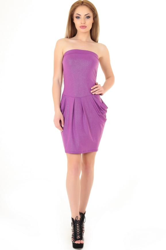 Коктейльное платье с открытыми плечами фрезового цвета 895.6|интернет-магазин vvlen.com