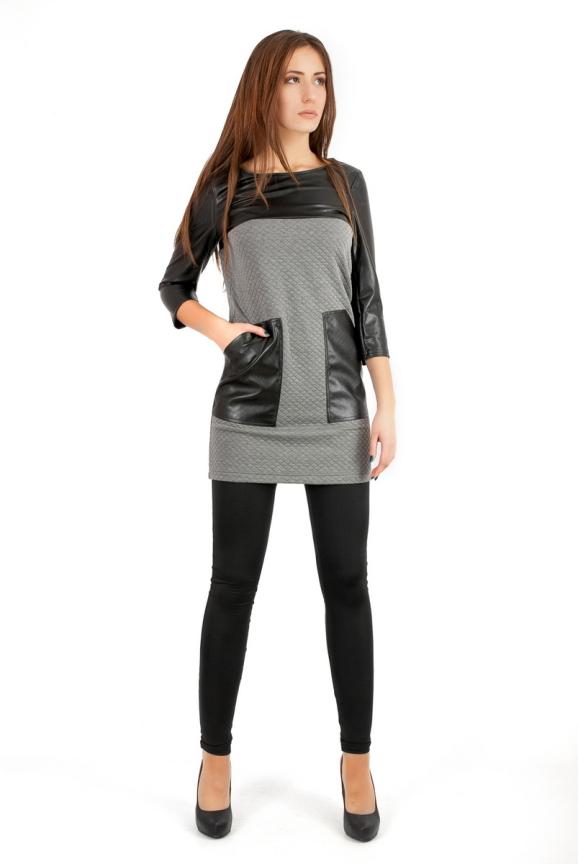 Повседневное платье футляр серого цвета 2263.75|интернет-магазин vvlen.com