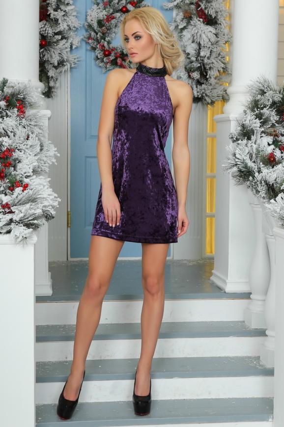 Коктейльное платье трапеция сиреневого цвета|интернет-магазин vvlen.com