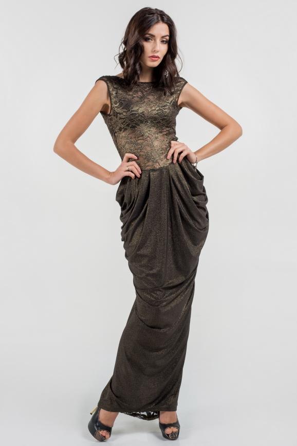 Вечернее платье годе черного цвета 884.6|интернет-магазин vvlen.com