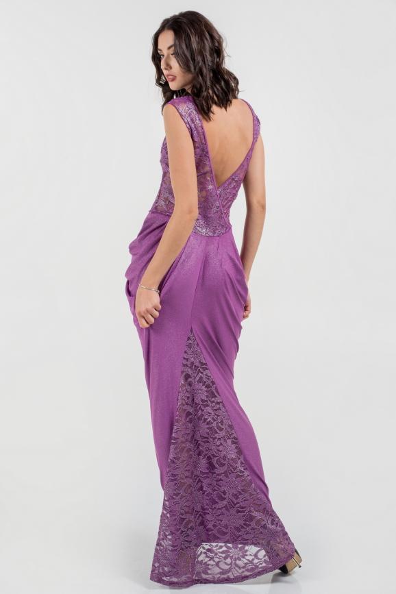 Вечернее платье годе фрезового цвета 884.6|интернет-магазин vvlen.com