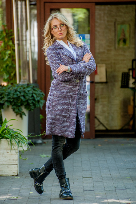 Кардиган модный сиреневого с черным цвета 2393.21|интернет-магазин vvlen.com