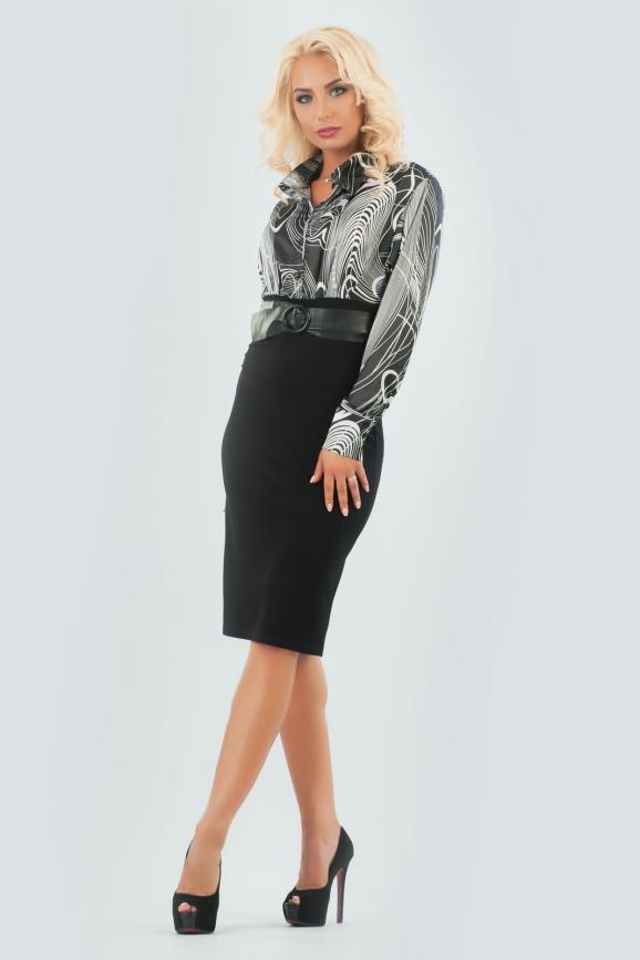 Офисное платье футляр черного цвета 599|интернет-магазин vvlen.com