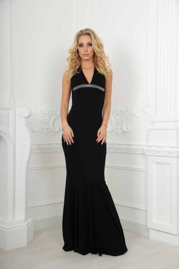 Вечернее платье с расклешённой юбкой черного цвета 480 интернет-магазин vvlen.com