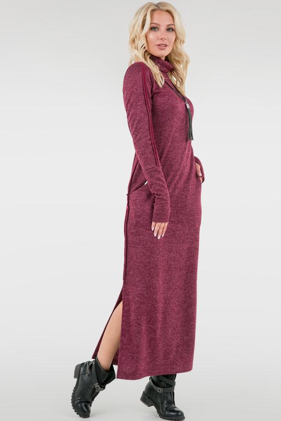 Повседневное платье гольф бордового цвета 2750.106|интернет-магазин vvlen.com