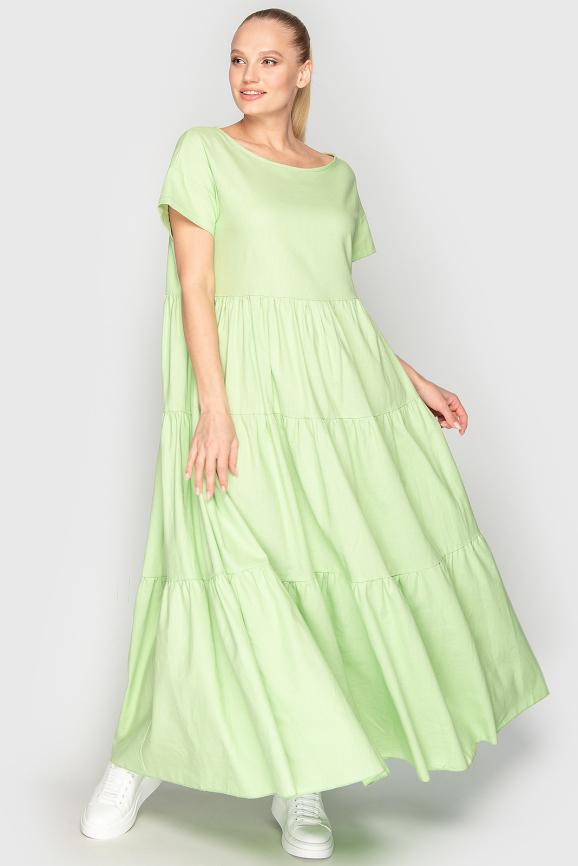 Летнее платье с пышной юбкой гороховый цвета 345|интернет-магазин vvlen.com