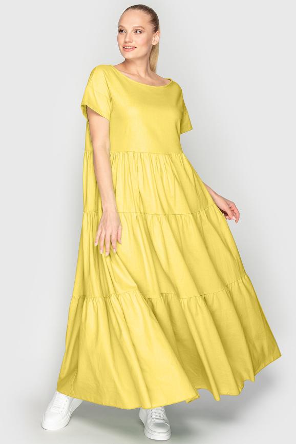 Летнее платье с пышной юбкой желтого цвета 345|интернет-магазин vvlen.com