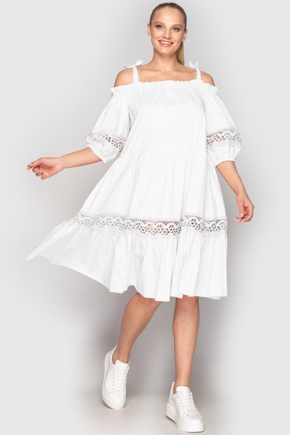 Летнее платье с расклешённой юбкой белого цвета 212|интернет-магазин vvlen.com