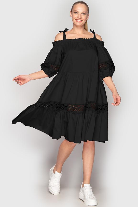 Летнее платье с расклешённой юбкой черного цвета 212 интернет-магазин vvlen.com