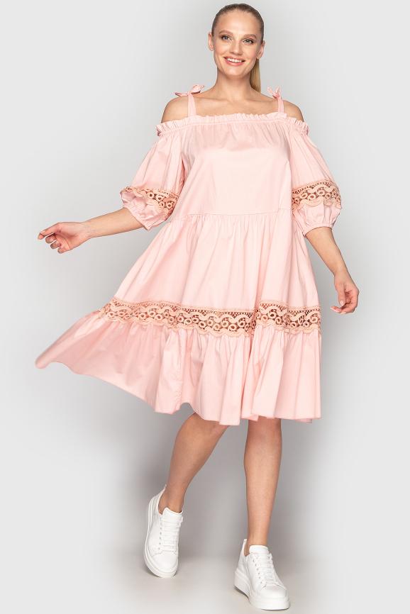 Летнее платье с расклешённой юбкой розового цвета 212 интернет-магазин vvlen.com