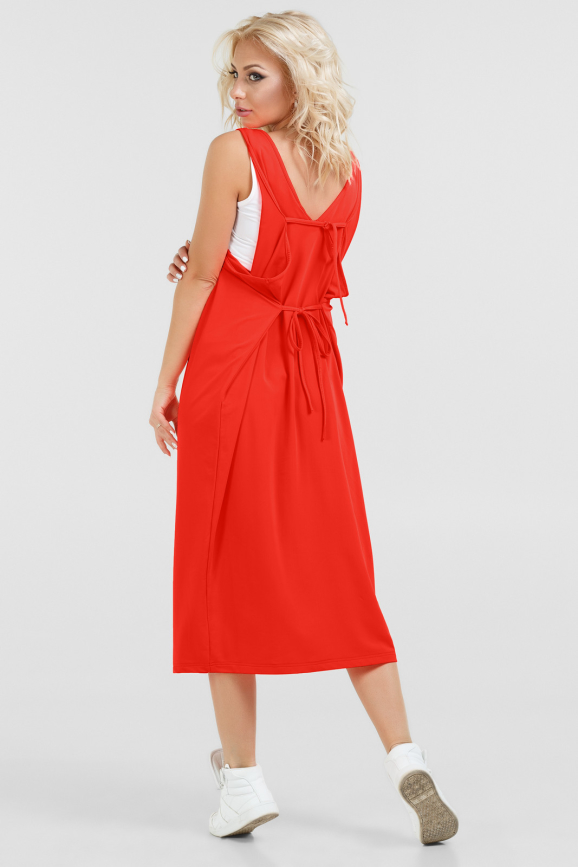 Спортивное платье  кораллового цвета|интернет-магазин vvlen.com