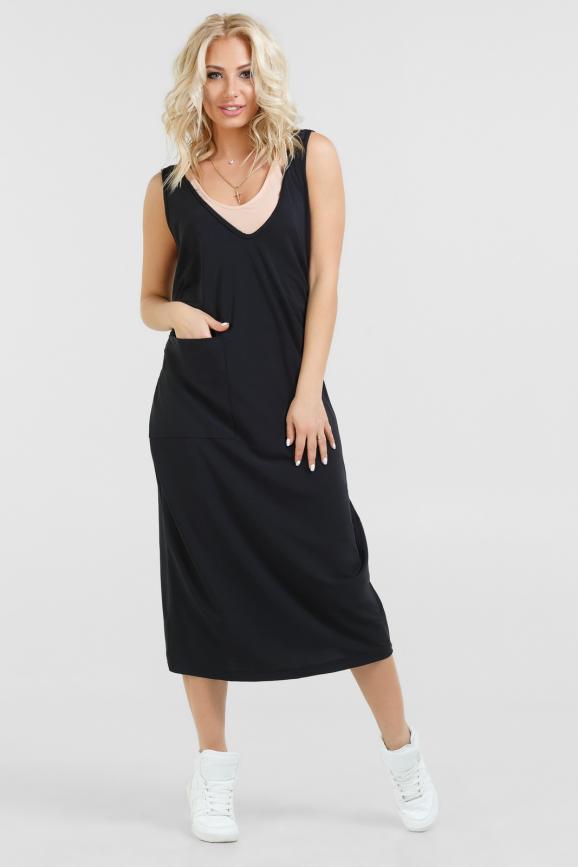Спортивное платье  черного цвета 052|интернет-магазин vvlen.com