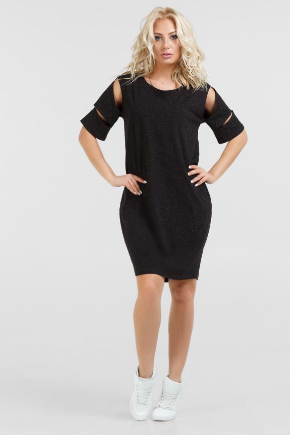 Спортивное платье  черного цвета|интернет-магазин vvlen.com