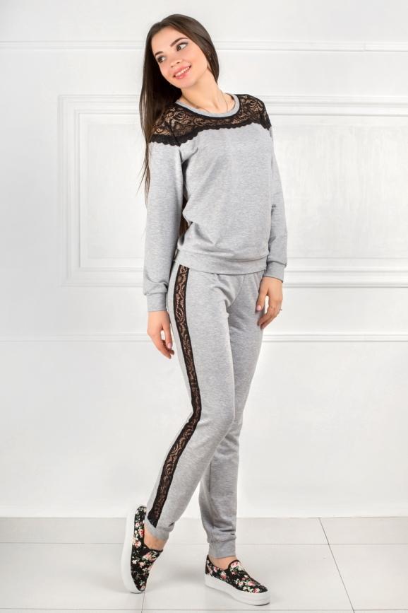 Домашний костюм серого цвета 2307.79|интернет-магазин vvlen.com