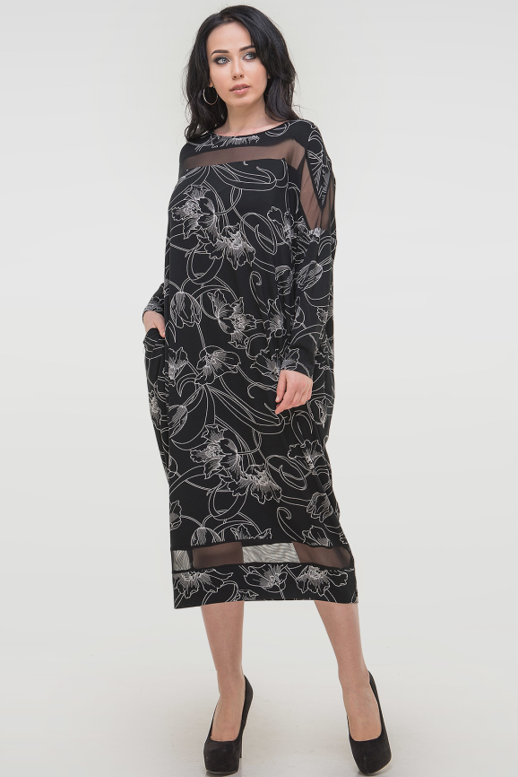 Платье оверсайз черного цвета 2711.17 интернет-магазин vvlen.com