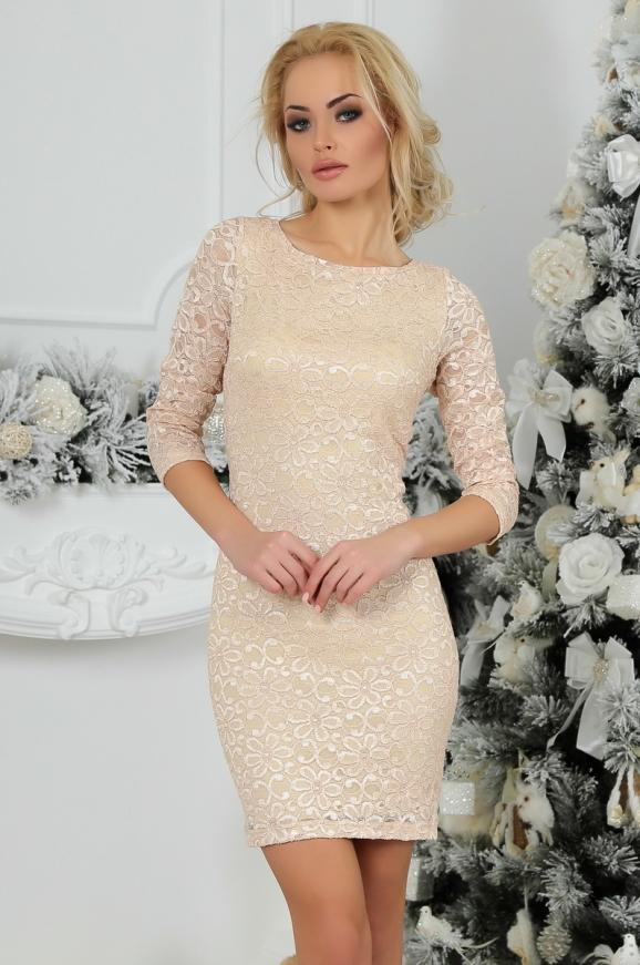 Коктейльное платье футляр бежевого цвета 2218.12 интернет-магазин vvlen.com
