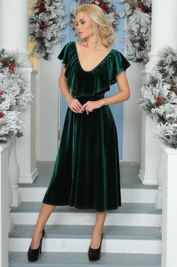 Вечернее платье с расклешённой юбкой темно-зеленого цвета 2465.26 интернет-магазин vvlen.com