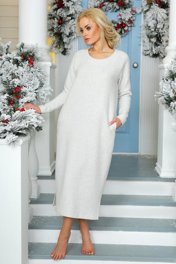 Повседневное платье  мешок светло-серого цвета 2470.91|интернет-магазин vvlen.com